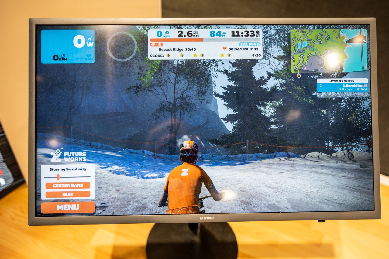 TitaniumGeek eurobike 162 of 427 Zwift Steering and Zwift Mountain Bike Course Revealed Cycling Gear Reviews Zwift    Image of eurobike 162 of 427